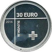Slovenia 30 Euro Red Cross 2016 Proof 30 EURO 2016 SLOVENIJA coin obverse