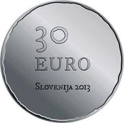 Slovenia 30 Euro Tolmin Peasant Revolt 2013 Proof KM# 113 30 EURO SLOVENIJA 2013 coin obverse