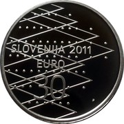 Slovenia 30 Euro World Rowing Championships in Bled 2011 Proof KM# 104 SLOVENIJA 2011 EUR0 30 coin obverse