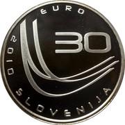 Slovenia 30 Euro World Ski Jumping Championships - Planica 2010 Proof KM# 98 EURO 30 2010 SLOVENIJA coin obverse