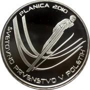 Slovenia 30 Euro World Ski Jumping Championships - Planica 2010 Proof KM# 98 PLANICA 2010 SVETOVNO PRVENSTVO V POLETIH coin reverse