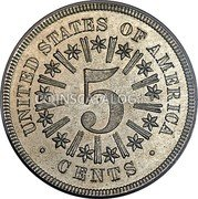USA 5 Cents (Nickel (Pattern)) 5 UNITED STATES OF AMERICA CENTS coin reverse