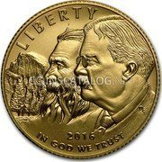 USA 5 Dollars National Park Service 2016 Proof LIBERTY 2016 DE IN GOD WE TRUST coin obverse
