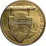 USA 5 Dollars National Park Service 2016 Proof UNITED STATES OF AMERICA, E PLURIBUS UNUM $5 W NATIONAL PARK SERVICE coin reverse