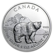 Canada 5 Dollars Grizzly Bear 2011 KM# 1109 CANADA WW 9999 FINE SILVER 1 OZ ARGENT PUR coin reverse