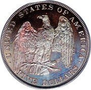 USA 5 Dollars (Half Eagle (Pattern)) . UNITED STATES OF AMERICA . FIVE DOLLARS coin reverse