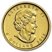 Canada 5 Dollars Maple Leaf 2012 KM# 929 ELIZABETH II 5 DOLLARS coin obverse
