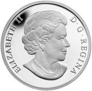 Canada 5 Dollars Overlaid Majestic Maple Leaves 2014 Proof ELIZABETH II D ∙ G ∙ REGINA coin obverse