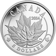 Canada 5 Dollars Overlaid Majestic Maple Leaves 2014 Proof CANADA 2014 PL 5 DOLLARS coin reverse