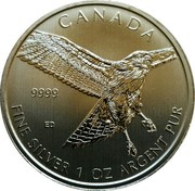 Canada 5 Dollars Red Tailed Hawk 2015 KM# 1882 CANADA 9999 ED FINE SILVER 1 OZ ARGENT PUR coin reverse