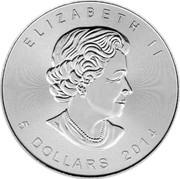 Canada 5 Dollars Wildlife - Grizzly Bear 2014 ELIZABETH II 5 DOLLARS 2014 coin obverse