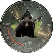Canada 5 Dollars Wildlife - Grizzly Bear 2014 CANADA 9999 9999 URSUS ARCTOS HORRIBILIS FINE SILVER 1 OZ ARGENT PUR coin reverse