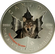 Canada 5 Dollars Wildlife - Wolf 2014 CANADA 9999 9999 CANIS LUPUS LYCAON FINE SILVER 1 OZ ARGENT PUR coin reverse