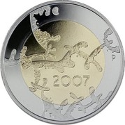 Finland 5 Euro 90th Anniversary of Independence 2007 P Proof KM# 146 2007 P coin reverse