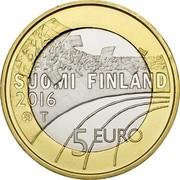 Finland 5 Euro Athletics 2016 Proof KM# 238 SUOMI FINLAND 2016 T 5 EURO coin obverse