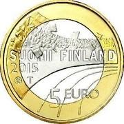 Finland 5 Euro Basketball 2015 Proof KM# 237 SUOMI FINLAND 2015 T 5 EURO coin obverse