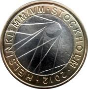 Finland 5 Euro Ice Hockey World Championship 2012 N KM# 183 HELSINKI MM/VN STOCKHOLM 2012 coin reverse
