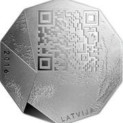 Latvia 5 Euro National Entrepreneur 2016 Proof KM# 182 2016 LATVIJA coin obverse