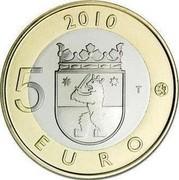 Finland 5 Euro Satakunta 2010 T Proof KM# 156 2010 5 EURO T coin reverse