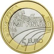 Finland 5 Euro Ski Jumping 2016 Proof KM# 245 SUOMI FINLAND 2016 T 5 EURO coin obverse