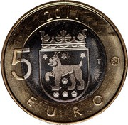 Finland 5 Euro Tavastia 2011 T KM# 161 2011 5 EURO T coin reverse