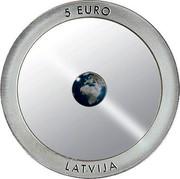Latvia 5 Euro The Earth 2016 Proof KM# 178 5 EURO LATVIJA coin obverse