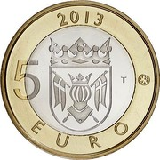 Finland 5 Euro Turku Cathedral 2013 Proof KM# 213 2013 5 EURO T coin reverse