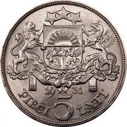 Latvia 5 Lati 1931 Proof KM# 9 First Republic (1918-1939) 19 29 PIECI 5 LATI coin reverse