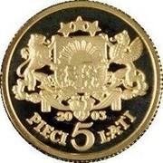Latvia 5 Lati 2003 Proof KM# 59 Standart Coinage 20 03 PIECI 5 LATI coin reverse