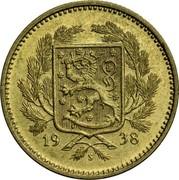 Finland 5 Markkaa 1938 S KM# 31 Decimal Coinage DATE coin obverse