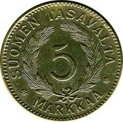 Finland 5 Markkaa 1946 S KM# 31a Decimal Coinage SUOMEN TASAVALTA 5 MARKKAA coin reverse