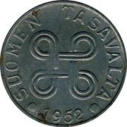 Finland 5 Markkaa 1952 KM# 37 Decimal Coinage SUOMEN TASAVALTA DATE coin obverse
