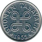 Finland 5 Markkaa 1955 KM# 37a Decimal Coinage SUOMEN TASAVALTA DATE coin obverse