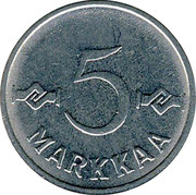Finland 5 Markkaa 1955 KM# 37a Decimal Coinage 5 MARKKAA coin reverse