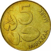 Finland 5 Markkaa 1995 M Proof KM# 73 Reform Coinage 5 MARKKAA MARK M coin reverse