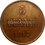Finland 5 Pennia 1917 KM# 17 Kerenski Government Issue coin reverse