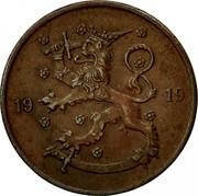 Finland 5 Pennia 1919 KM# 22 Decimal Coinage DATE coin obverse