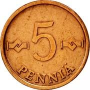 Finland 5 Pennia 1973 KM# 45 Reform Coinage 5 PENNIÄ coin reverse