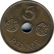 Finland 5 Pennia Hole center 1943 KM# 64.1 5 PENNIÄ coin reverse