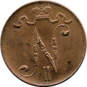Finland 5 Pennia Nikolai II 1915 KM# 15 N II coin obverse