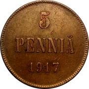 Finland 5 Pennia Nikolai II (Civil War Coinage) 1917 KM# 17 5 PENNIÄ 1917 coin reverse