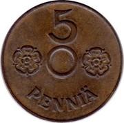Finland 5 Pennia Normal center 1941 KM# 64.2 5 PENNIÄ coin reverse