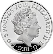 UK 5 Pounds Legend of the Ravens 2019  5 POUNDS • ELIZABETH II • D • G • REG • F • D J.C coin obverse