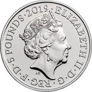 UK 5 Pounds Tower of London - The Ceremony of the Keys 2019 BU • 5 POUNDS • 2019 • ELIZABETH II • D • G • REG • F • D • J.C coin obverse