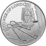 UK 5 Pounds Tower of London - The Ceremony of the Keys 2019 BU TOWER OF LONDON GD coin reverse