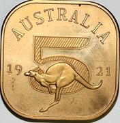 Australia 5 S Kangaroo 1921 Matte Proof AUSTRALIA 19 21 5 coin reverse