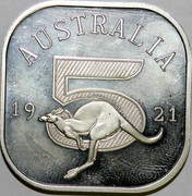 Australia 5 S Kangaroo 1921 Proof AUSTRALIA 19 21 5 coin reverse