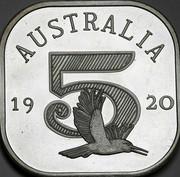 Australia 5 S Kookaburra 1920 Proof X# 1 AUSTRALIA 19 20 5 coin reverse