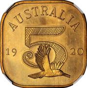 Australia 5 S. Kookaburra 1920 Proof X# 1c AUSTRALIA 19 20 5 coin reverse
