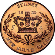 Australia 5 S. Restrike 2006 1830 (2006) X# 2a SYDNEY 5 S. NEW SOUTH WALES coin reverse